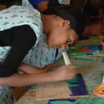 Felegush Beregun from Bahir Dar (20) a student of Bruh Tesfa creates Montessori resources.