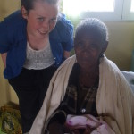 Hazel volunteered in a health centre during her time in Ethiopia. She is pictured with a grandmother and newborn grand-daughter.