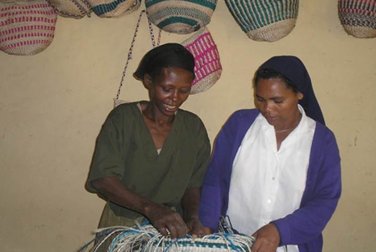 The Daughters of Charity teach basket making as part of the rehabilitation programme for those affected by leprosy.