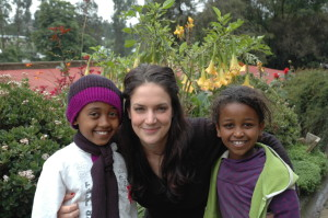 Aoife O Riordan with Tsion Fekadu and Fikerte Andarge, 5th graders from Atse Primary School, Addis Ababa.