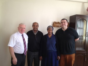 Paul McLoone with Fr Getahun Fanta (Vincentian Provincial), Sr Tiblets Baraki (Daughters of Charity Provincial) and Richard Brophy.