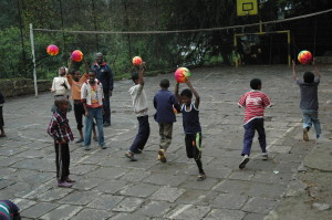 PE Class at Atse Primary School - the new ball games were a hit!