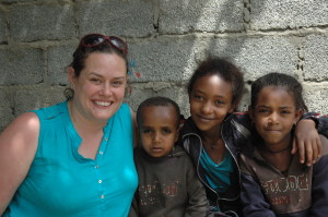 Vicki Monkhouse with Ashenafi (4), Wintana (10) and Nabyat (8) at St Vincent's Community Centre, Mekele