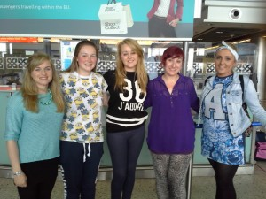 Mary Anne Stokes (VLM), Orla Cashell, Joanna Lally, Sabrina Mannion and Niamh West, Students of All Hallows College and St. Patrick's College, Drumcondra departing of VLM's 2014 summer programme in Bulbula, Ethiopia.