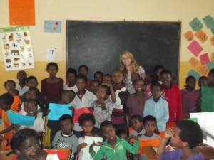 Joanna with junior classes in St. Joseph's Primary School, Bulbula.