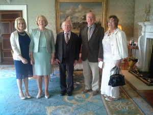 Mary Anne Stokes, VLM Projects Coordinator, Mrs Sabina Higgins, President Michael D Higgins, Dr Tony O'Dwyer, Comhlámh founding member and Kathleen Conlon, VLM volunteer.