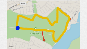 Follow the yellow path - that's 5km. Do it twice if you're signed up for the 10km!
