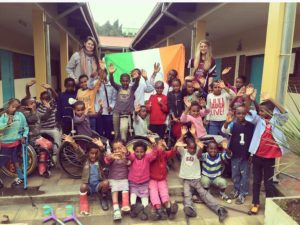 Sorcha Galvin and Elish-Therese Campbell, VLM volunteers with children from Alemachen Rehab Centre, Addis Ababa.